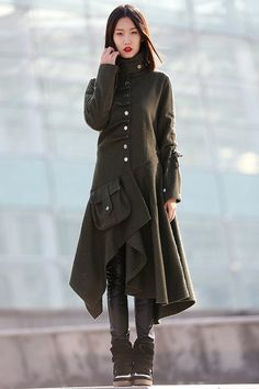 Army Green Modern Coat - Unique Contemporary Designer Mid-Length Wool Swing Coat with Asymmetrical Hemline & Large Front Pocket C183