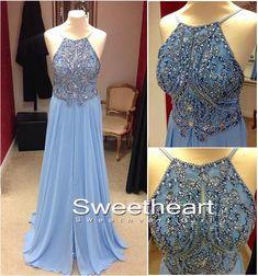 Blue A-line Backless Chiffon Long Prom Dresses, Formal Dresses #prom #promdress #prom2k16