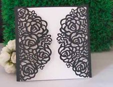laser cut ribbon | Laser cut Sets Rose Wedding invitations cards+Envelope+Seals +White ...