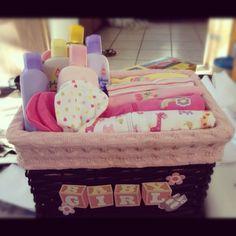 Homemade DIY gift basket baby shower for girls
