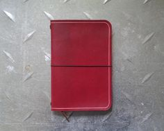 Red Leather Midori style traveller's A6 notebook by EOKleather