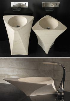 Bathroom Sinks and Creative Sink Designs Small Bathroom Sinks, White Bathroom Cabinets, Bathroom Basin, Bathrooms, Wash Basin Cabinet, Retro Interior Design, Wood Sink, Stone Basin, Sink Design