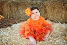 Fall Baby TUTU Red Orange Brown Gold with Flower by TutuCaChu, $39.99