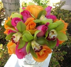 Pink, orange, and green bouquet. Love this color scheme! Maybe with a little less green, though.