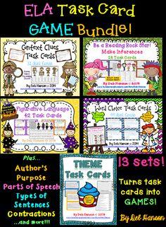 A bundle of 13 game-like upper elementary ELA task card sets! $