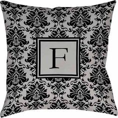 Thumbprintz Damask Monogram Decorative Pillow, Black and Grey, Gray