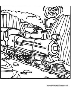 Steam train coloring Page of a steam train on the tracks.
