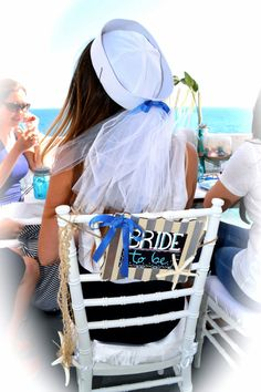 Nautical Bride Sailor hat with veil. Perfect by HandmadeByMoniqueP