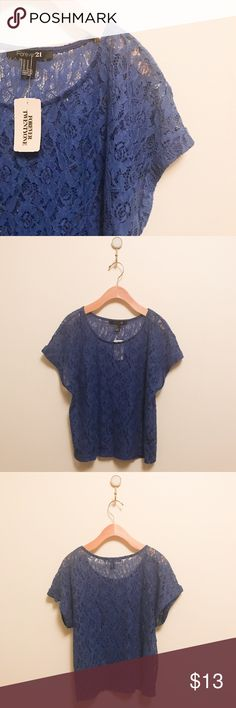 Forever21 Navy Lace Shirt Forever21 navy lace shirt new with tags. Forever 21 Tops Blouses