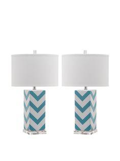 Safavieh Set of 2 Chevron Stripe Table Lamps, Light Blue $159 at MYHABIT #Blue #Soothing