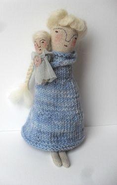 Elizabeth and doll - Folk art Winter doll - one of a kind