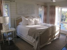 Love this bedroom! White bedding and linen headboard added to home-makeover checklist!