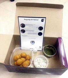 Burgundy Box with ingredients for the Khasta Ghosht Ki Shikhampuri