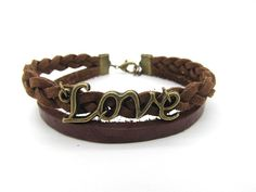 Love Bracelet Brown leather bracelet made of weave by Richardwu, $5.00