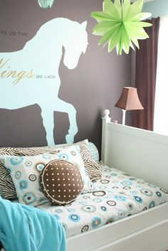 """The Yellow Cape Cod: My Daughters Room""--White bed, cool turquoise, white, brown colors. Not style R wants, but good color mix."