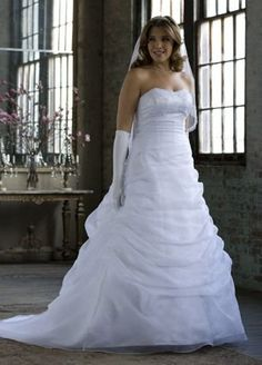 Organza Draped Pick-up Wedding Dress with Beaded Lace Empire Style… From The Plus Size Fashion Community At www.VintageAndCurvy.com