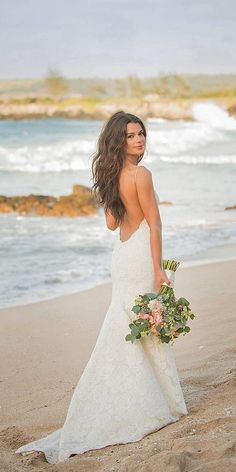 beach open back wedding dress via katie may - Deer Pearl Flowers / http://www.deerpearlflowers.com/wedding-dress-inspiration/beach-open-back-wedding-dress-via-katie-may/