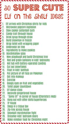 Elf on the Shelf Idea List