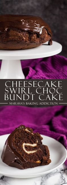 Cheesecake Swirl Chocolate Bundt Cake | marshasbakingaddiction.com @marshasbakeblog