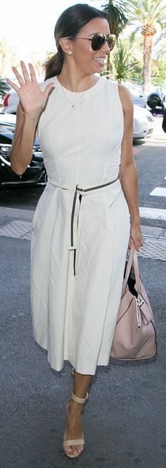 Eva Longoria wearing Gerard Darel Buci Bag in Nude, Victoria Beckham Feather Aviator Sunglasses, Gianvito Rossi Portofino Sandals and Brunello Cucinelli Sleeveless Midi Dress with Monili-Trim Belt Eva Longoria Dresses, Eva Longoria Style, Tan Sandals, Dress Sandals, Spring Summer Fashion, Spring Outfits, Celebrity Style Casual, Gold Aviator Sunglasses, Fashion Styles