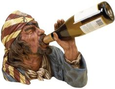 Wine, wine, wine, wine, wine, wine!  The Sea Pirate can hold one wine bottle. It is Made of cast resin composite material.