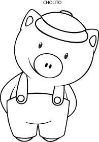 Riscos graciosos (Cute Drawings): Riscos de porquinhos (Pigs/ Piglets) a pig Pig Drawing, Drawing For Kids, Pig Crafts, Felt Crafts, Colouring Pages, Coloring Books, Diy For Kids, Crafts For Kids, Rock Painting Ideas Easy
