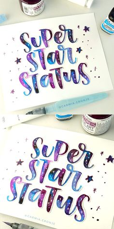 How to Hand Letter a Galaxy Effect with Watercolour. In this video I will show you how I create a galaxy effect with watercolour paint and a waterbrush. The technique I use is by painting a watery base layer with my brush and then dropping paint in random areas inside the letters. It doesn't matter where you drop the paint - when it dries and you add some stars it will look just like a galaxy!
