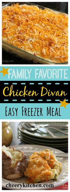 Chicken Divan is a true family favorite and easy to make freezer meal. The fact that all family and friends like it so much makes it comfort food for me! Chicken Freezer Meals, Make Ahead Freezer Meals, Freezer Cooking, Chicken Recipes, Easy Meals, Canned Chicken, Easy Crowd Meals, Mayo Chicken, Dump Meals
