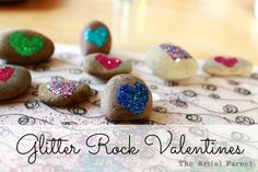 Glitter Rock Valentines :: A Fun Valentine Craft Project for Kids