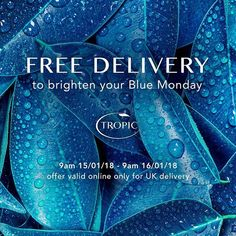 It's blue Monday so @tropicskincare have kindly given us free delivery for the day! 💙  Shop link in bio (I've always wanted to say that 😂😂😂) or contact me to place your order. ✨  There are still some items on sale with 25% off (click on the 'new' tab in my shop, add the item to your basket and the reduction shows up once you've added it), so still time to both grab a bargain AND get free delivery! Win win! 💙✨