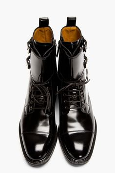 VALENTINO // BLACK PATENT LEATHER BUCKLED STUD BOOTS