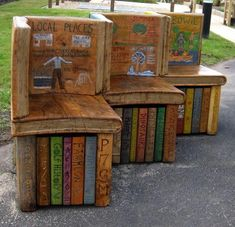 Oak double-sided BOOK BENCH by Justin Illusions Creative Studios of Ayrshire, SCOTLAND. Concept and illustration by students of Clarkston Primary School, North Lanarkshire. Credit the artist. Pin from the primary source. Cool Books, I Love Books, My Books, Read Books, Atelier Architecture, Statues, Book Furniture, Outdoor Furniture, Buch Design
