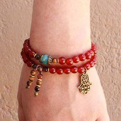 Stability, red carnelian 54 bead wrap mala bracelet
