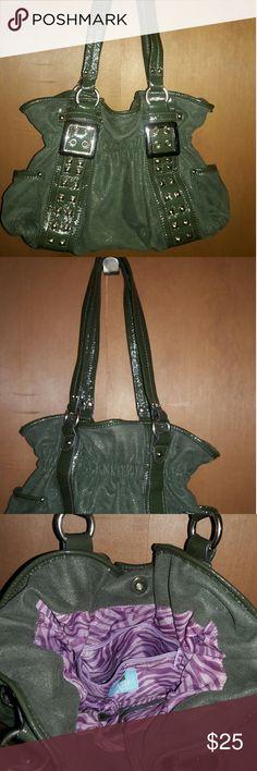 KATHY Van Zeeland Purse Excellent condition, gently used green handbag with purple, zebra print lining. Four inside pockets. Kathy Van Zeeland Bags Shoulder Bags