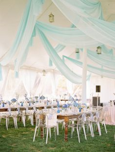 Light blue drapes and pretty blue flowers: http://www.stylemepretty.com/maryland-weddings/baltimore/2015/05/14/spring-mansion-wedding-at-cylburn-arboretum/ | Photography: Love by Serena - http://lovebyserena.com/