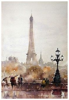 Dusan Djukaric Autumn in Paris, cm Create a watercolor painting - paint the eiffel tower in watercolor Watercolor City, Watercolor Drawing, Watercolor Landscape, Landscape Art, Painting & Drawing, Landscape Paintings, Watercolor Paintings, Watercolours, Fall Paintings
