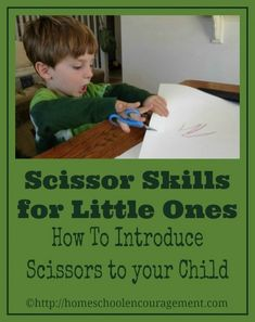 It is never too early to start scissor skills. Kids love cutting and pasting, so why not let them? It is soooo good for them in the fine motor skills and hand-eye coordination department.