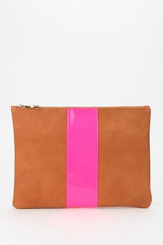 Steve Madden Pop-Stripe Zip-Pouch $78 Mixed Metals, Cool Gifts, School Supplies, Gift Guide, Steve Madden, Pouch, Zip, Leather, Crafts