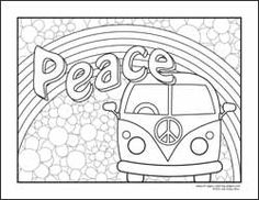 peace sign and vw kombi coloring page