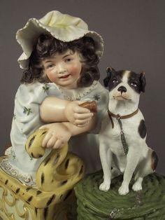 19c Very Large Antique German Hertwig Bisque Piano Baby Girl w Dog Figurine | eBay