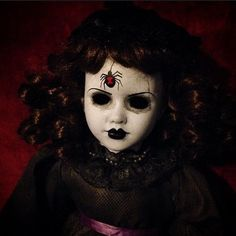 Copy of Bastet2329 OOAK Creepy Mourning Doll with Black Widow