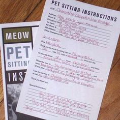 sheets designed to give pertinent pet information for dog walkers or dog sitters