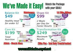 Here are the different kits for your health and weight loss goals;  http://cindyrush.myvi.net