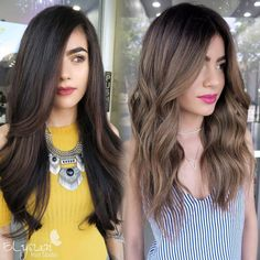 """@hairbylily408 on Instagram: """"More than half her hair was box colored black when coming to me. 1st session we did Balayage. The…"""""""