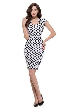 Women Top Fashion Floral Polka Dot 50s Vintage Rockabilly Pinup Cap Sleeve Bodycon Knee Length Casual Pencil Wiggle Dress