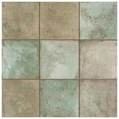 Imported from Spain, our Merola Tile Kings Etna Encaustic in. Sage Ceramic Floor and Wall Tile radiates old-world European elegance. This encaustic-inspired tile features a unique, House Tiles, Wall Tiles, Tiles Texture, Stone Tiles, Vintage Industrial, Industrial Design, Tile Floor, Flooring, Ceramics