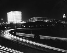 The Los Angeles civic center and Harbor Freeway at night, 1965. Left to right: DWP building, Music Center, and Los Angeles City Hall.