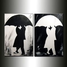 ORIGINAL Abstract Contemporary Rainy Day Painting Man and Woman Under Umbrella Hugging by Henry Parsinia Ready to Hang 48x36