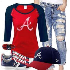 Atlanta Braves Cute Boyfriend Jeans Outfit