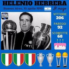 Uno dei più grandi allenatori di tutti i tempi: Helenio Herrera, il primo allenatore ad aver raggiunto con l'Inter il fantastico Triplete Image Foot, Pop Art Design, Ac Milan, Uefa Champions League, Football Soccer, Nostalgia, Baseball Cards, Disney Infinity, Sports